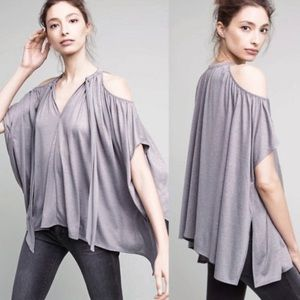 Anthro Deletta Tulay Cold Shoulder Metallic Shirt